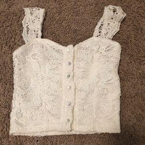 Tops - Super Cute White Lace Crop Top